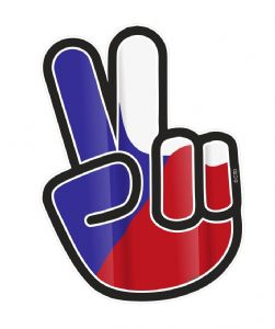 Hippy Style PEACE Hand With Czech Republic Country Flag Motif External Vinyl Car Sticker 90x65mm